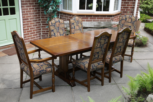 Super An Old Charm Dining Table And A Set Of Six Oak Dining Chairs Including Carver Armchairs Caraccident5 Cool Chair Designs And Ideas Caraccident5Info