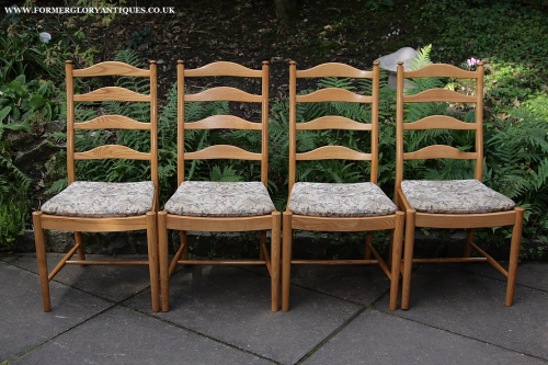 A SET OF FOUR ERCOL LIGHT ELM LADDERBACK PENN KITCHEN DINING TABLE CHAIRS CUSHIONS PADS