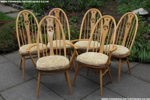 A SET OF SIX ERCOL LIGHT ELM SWAN BACK KITCHEN DINING TABLE CHAIRS SEAT CUSHIONS ARMCHAIRS