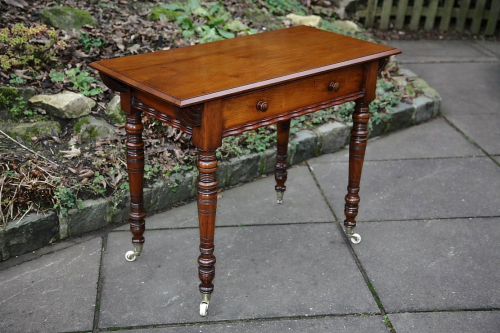 A LATE VICTORIAN MAHOGANY HALL SIDE END OCCASIONAL TABLE DESK.