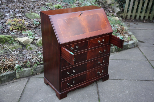 A Flame Mahogany Bureau Office Desk Writing Table Drawers Former