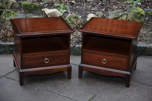 2 X Stag Minstrel Mahogany Bedside Cabinets Lamp Tables