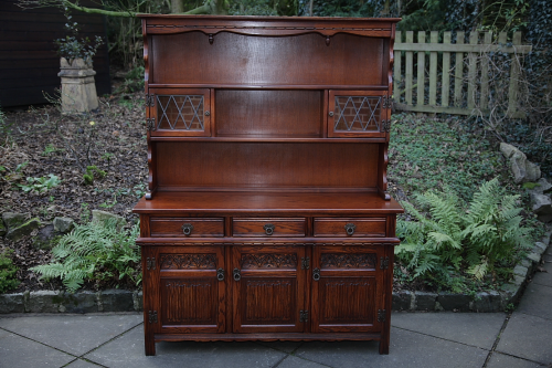AN OLD CHARM WOOD BROS TUDOR BROWN DISPLAY DRESSER BASE CUPBOARD SIDEBOARD CABINET.