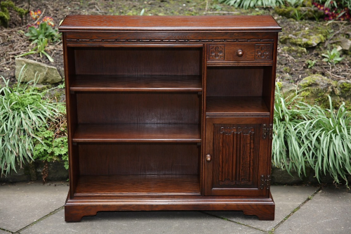 AN OLD CHARM WOOD BROS TUDOR BROWN OAK BOOKCASE OFFICE CD SHELVES CABINET CUPBOARD.