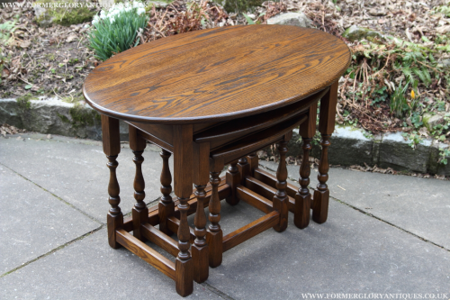 an old charm nest of three oval light oak coffee side end occasional lamp tables former glory. Black Bedroom Furniture Sets. Home Design Ideas