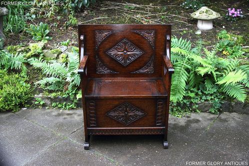 C1920 CARVED OAK MONKS BENCH SEAT BOX SETTLE PEW