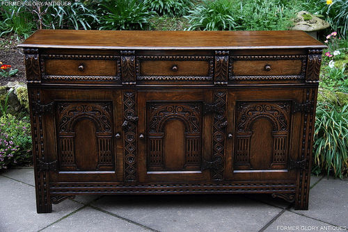 TITCHMARSH AND GOODWIN STYLE CARVED OAK DRESSER BASE / SIDEBOARD