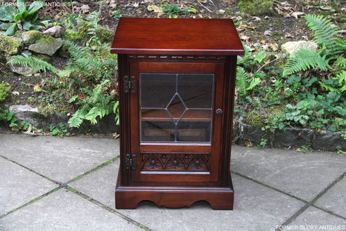 A WOOD BROTHERS OLD CHARM TUDOR BROWN CARVED OAK HI FI MUSIC CABINET