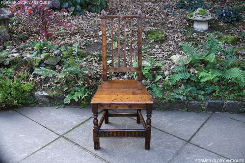 A NIGEL GRIFFITHS MONASTIC SOLID STRESSED OAK STICK BACK DESK / HALL CHAIR