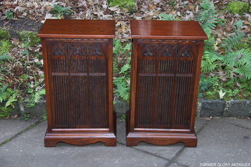A PAIR OF WOOD BROTHERS OLD CHARM TUDOR BROWN CARVED OAK SPEAKER COVERS / CABINETS