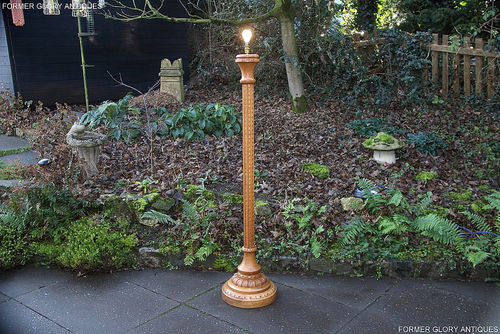 A RUPERT / NIGEL GRIFFITHS MONASTIC CARVED OAK STANDARD LAMP