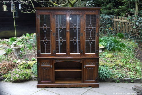 A WOOD BROTHERS OLD CHARM LIGHT OAK LIBRARY BOOKCASE / DISPLAY CABINET