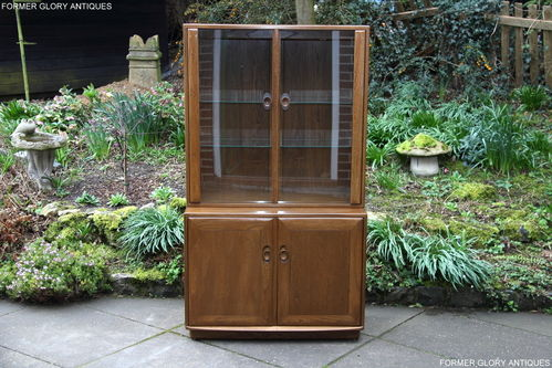 AN ERCOL WINDSOR GOLDEN DAWN ELM ASH DISPLAY CABINET / DRESSER