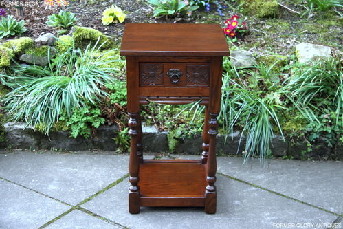 A WOOD BROTHERS OLD CHARM TUDOR BROWN CARVED OAK HALL TABLE / STAND
