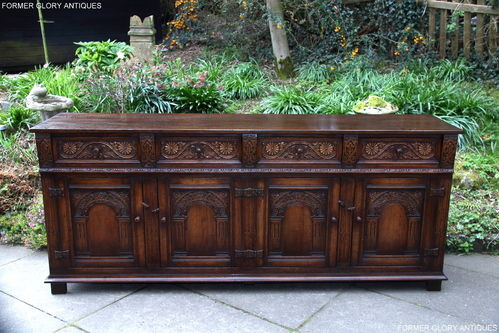 A TITCHMARSH AND GOODWIN SOLID CARVED OAK SIDEBOARD / DRESSER BASE