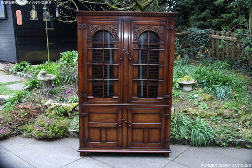 A TITCHMARSH AND GOODWIN SOLID CARVED OAK LIBRARY BOOKCASE / BOOKSHELVES