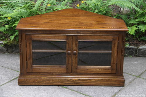 AN ERCOL MURAL GOLDEN DAWN ELM CORNER TV CABINET / STAND