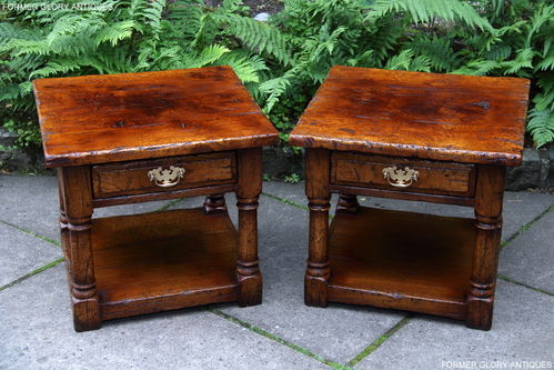 A PAIR OF TITCHMARSH AND GOODWIN EPICORMIC STRESSED OAK END / LAMP TABLES
