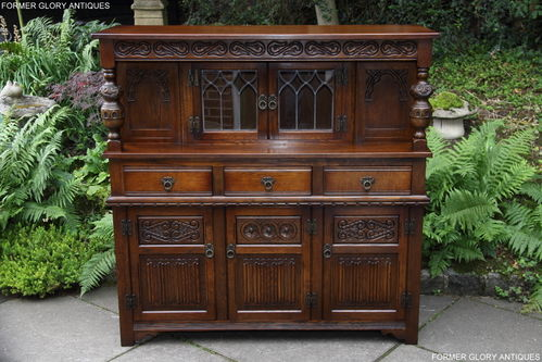 A WOOD BROTHERS OLD CHARM CARVED LIGHT OAK COURT CUPBOARD / SIDEBOARD / DRESSER