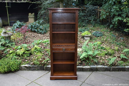 A WOOD BROTHERS OLD CHARM LIGHT OAK NARROW OPEN BOOKCASE / DISPLAY SHELVES