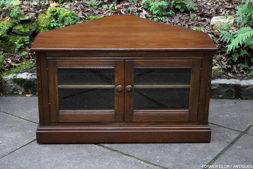 AN ERCOL MURAL GOLDEN DAWN ELM CORNER TV CABINET / STAND / UNIT