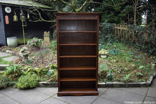A WOOD BROTHERS OLD CHARM LIGHT OAK TALL OPEN BOOKCASE / BOOKSHELVES