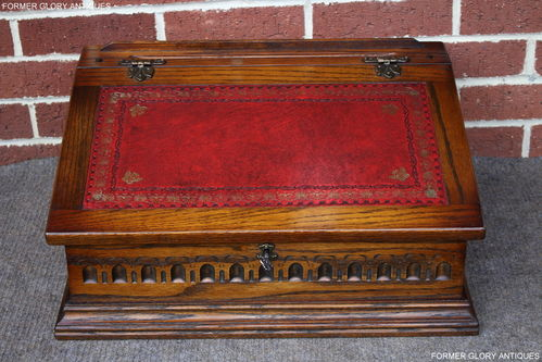 A WOOD BROTHERS OLD CHARM CARVED LIGHT OAK WRITING SLOPE / BOX / DESK