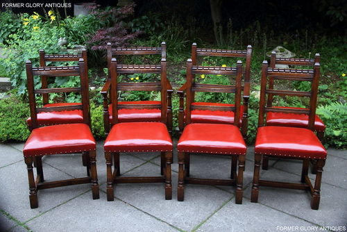 A SET OF EIGHT TITCHMARSH AND GOODWIN JACOBEAN STRESSED OAK DINING CHAIRS
