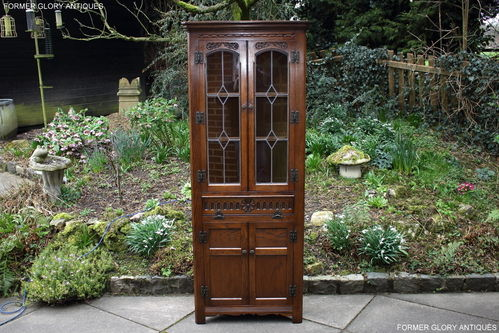 A WOOD BROTHERS OLD CHARM CARVED LIGHT OAK CORNER DISPLAY CABINET / CUPBOARD
