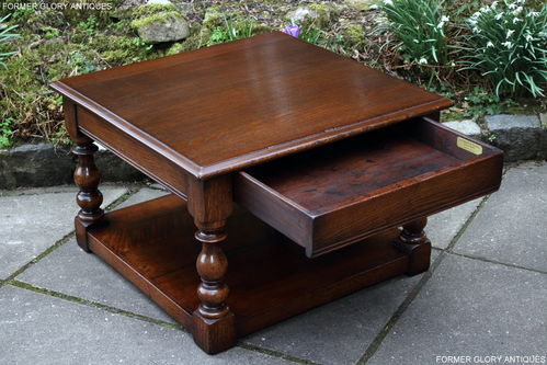 A TITCHMARSH AND GOODWIN JACOBEAN STRESSED OAK SINGLE DRAWER END / COFFEE TABLE
