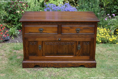 A WOOD BROTHERS OLD CHARM CARVED LIGHT OAK FILING CABINET