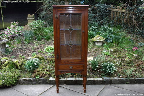 A WOOD BROTHERS OLD CHARM MINUET CARVED LIGHT OAK CHINA / DISPLAY CABINET