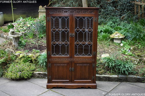 A WOOD BROTHERS OLD CHARM HATFIELD CARVED LIGHT OAK BOOKCASE / DISPLAY CABINET