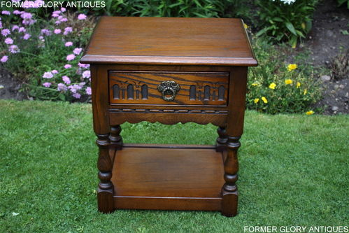 A WOOD BROTHERS OLD CHARM CARVED LIGHT OAK LAMP / BEDSIDE TABLE