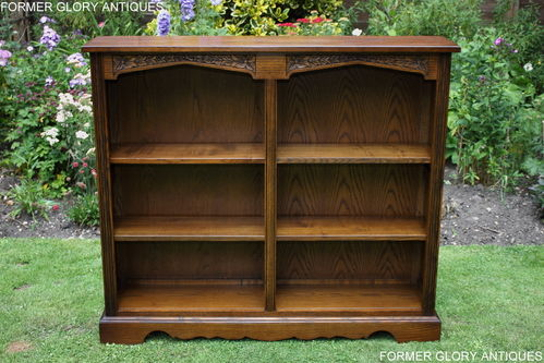 A WOOD BROTHERS OLD CHARM CARVED LIGHT OAK OPEN LOW BOOKCASE / BOOKSHELVES