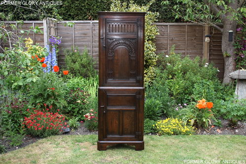 A TITCHMARSH AND GOODWIN CARVED OAK CORNER DISPLAY CABINET / CUPBOARD