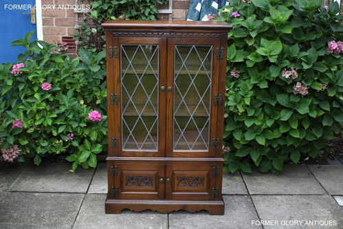 A WOOD BROTHERS OLD CHARM CARVED LIGHT OAK BOOKCASE / DISPLAY CABINET / CUPBOARD