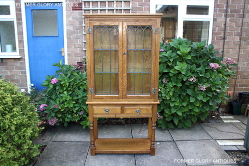 A WOOD BROTHERS OLD CHARM VINTAGE OAK CHINA / DISPLAY CABINET