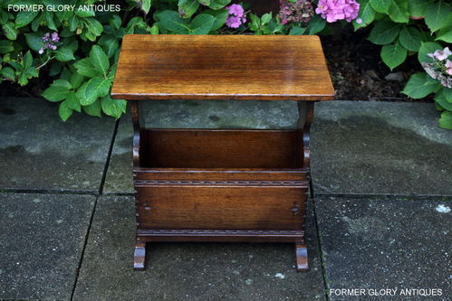 A TITCHMARSH AND GOODWIN CARVED OAK MAGAZINE RACK / STAND / COFFEE TABLE