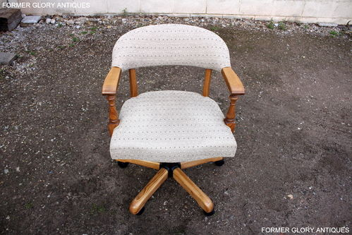 A WOOD BROTHERS OLD CHARM VINTAGE OAK UPHOLSTERED CAPTAINS SWIVEL DESK CHAIR