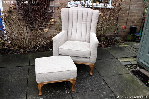 A WOOD BROTHERS OLD CHARM VINTAGE OAK UPHOLSTERED BLAKENEY WINGBACK ARMCHAIR & FOOTSTOOL