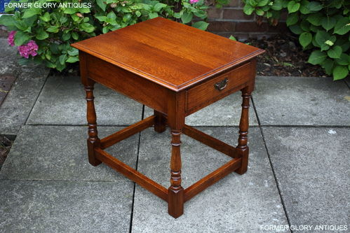 A G.T. RACKSTRAW LTD SOLID MEDIUM OAK SINGLE DRAWER OCCASIONAL / SIDE TABLE / LAMP STAND